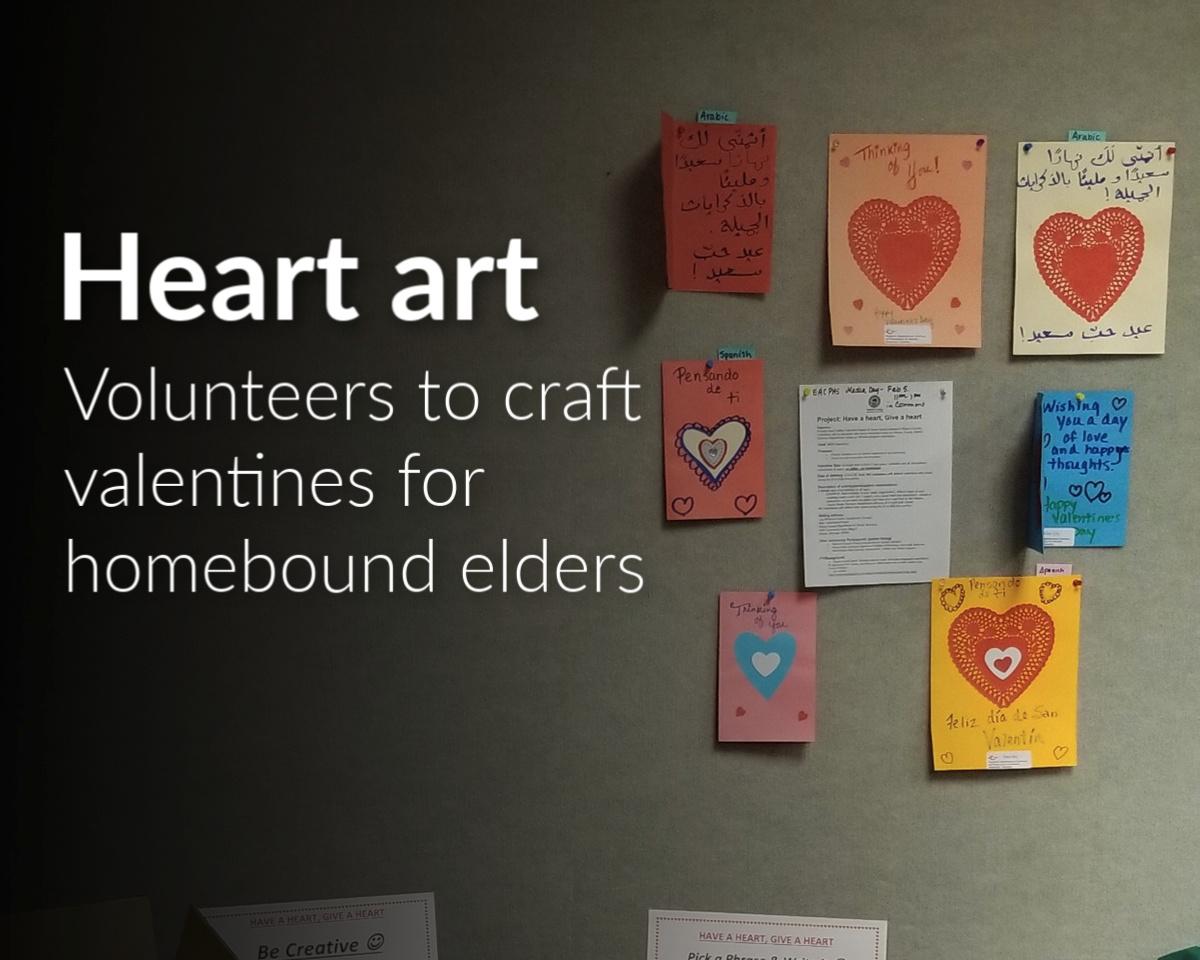 Make Valentines for homebound Meals-on-Wheels seniors at WSU Applebaum