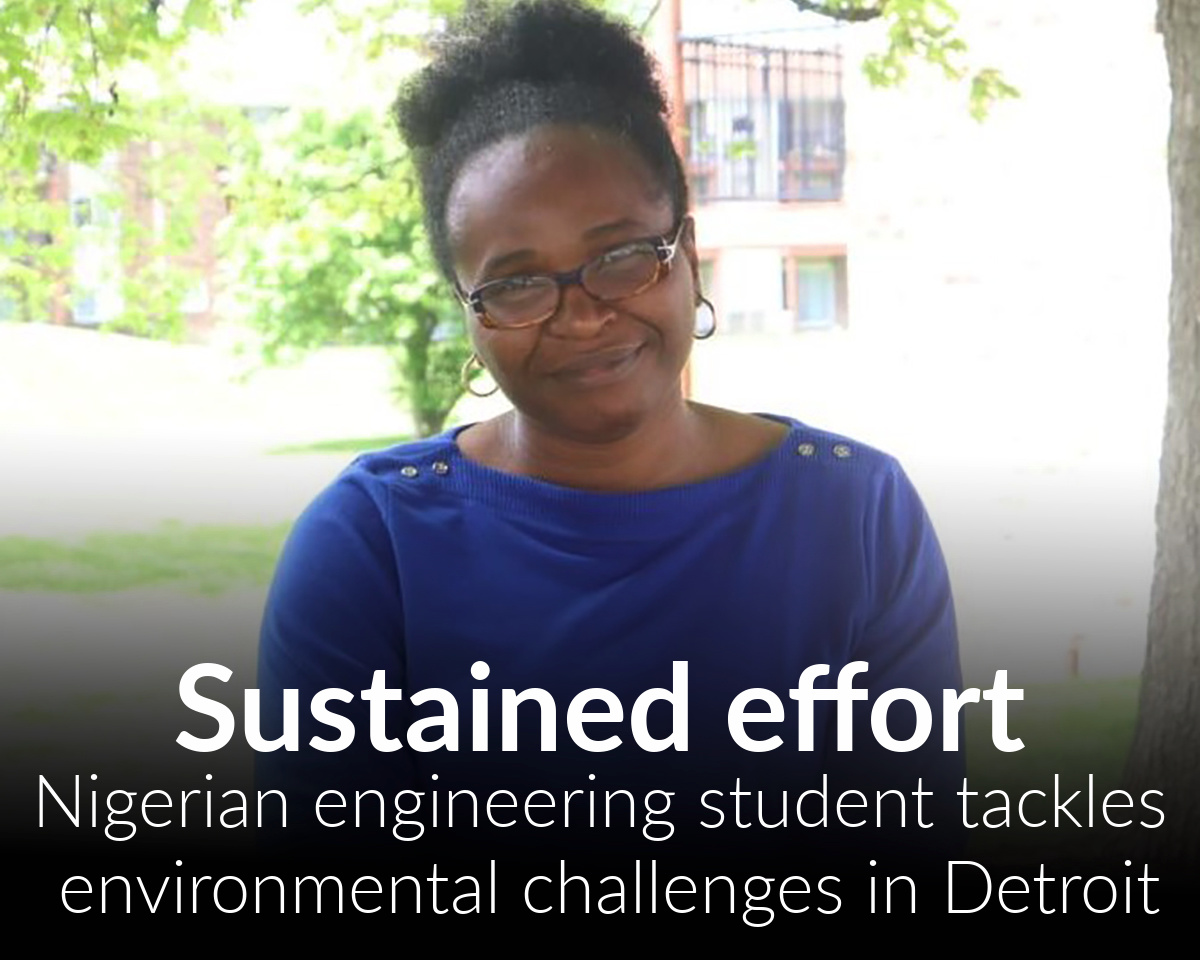 Nigerian engineering student works in Detroit to improve green infrastructure and environmental sustainability