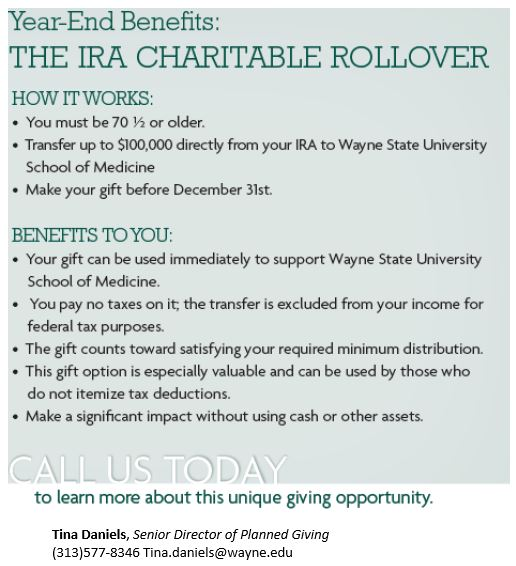 Year End Benefits: The IRA Charitable Rollover!